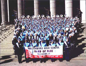 BAND OF BLUE IN FRONT OF FEDERAL POST OFFICE IN NYC